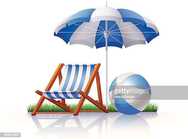 stockillustraties, clipart, cartoons en iconen met chair, umbrella and beach ball - strandparasol
