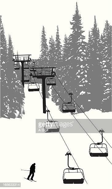 chairlift  vector silhouette - ski slope stock illustrations, clip art, cartoons, & icons