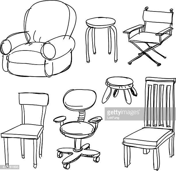 chairs collection in black and white - chaise stock illustrations, clip art, cartoons, & icons