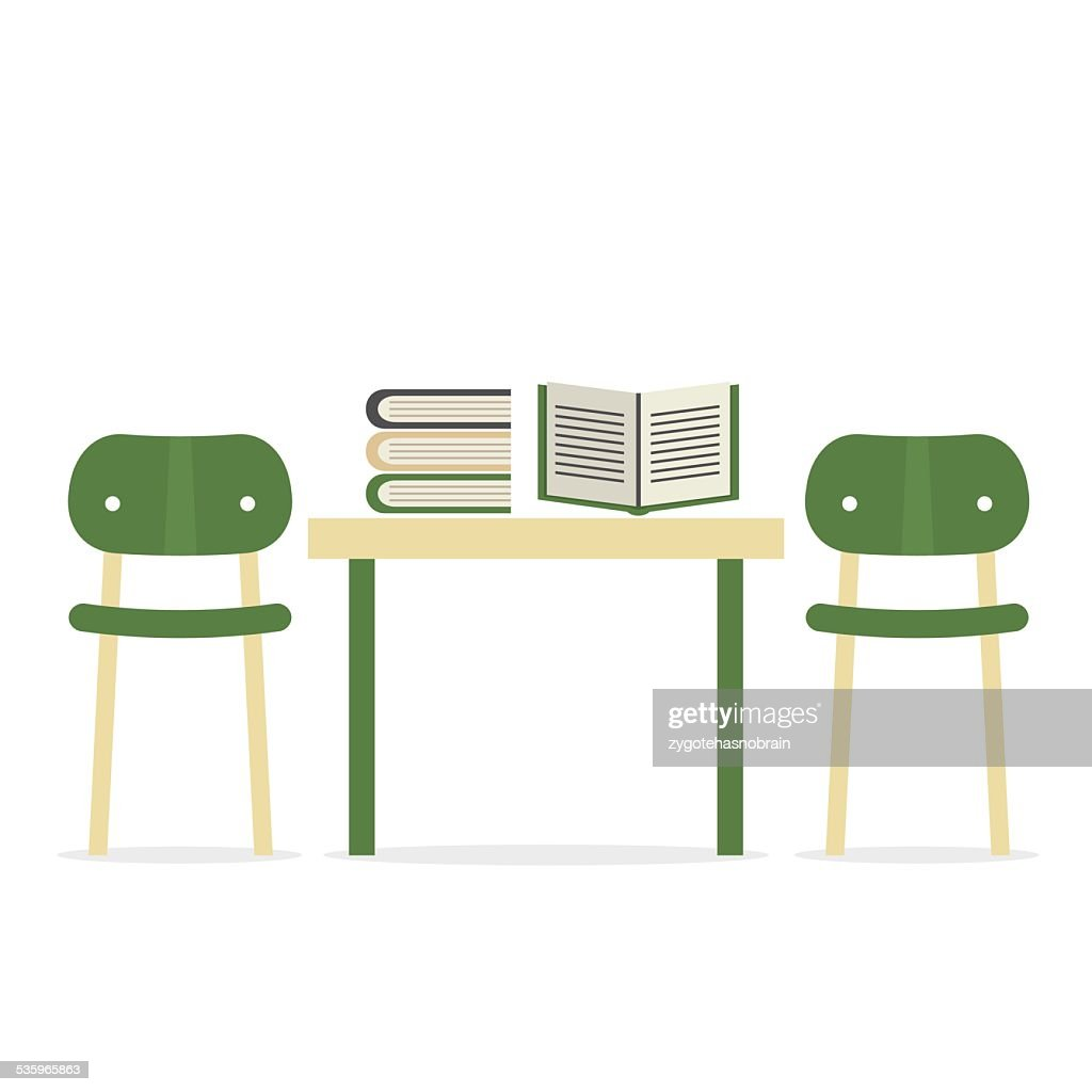 Chairs With Books On Table : Vector Art