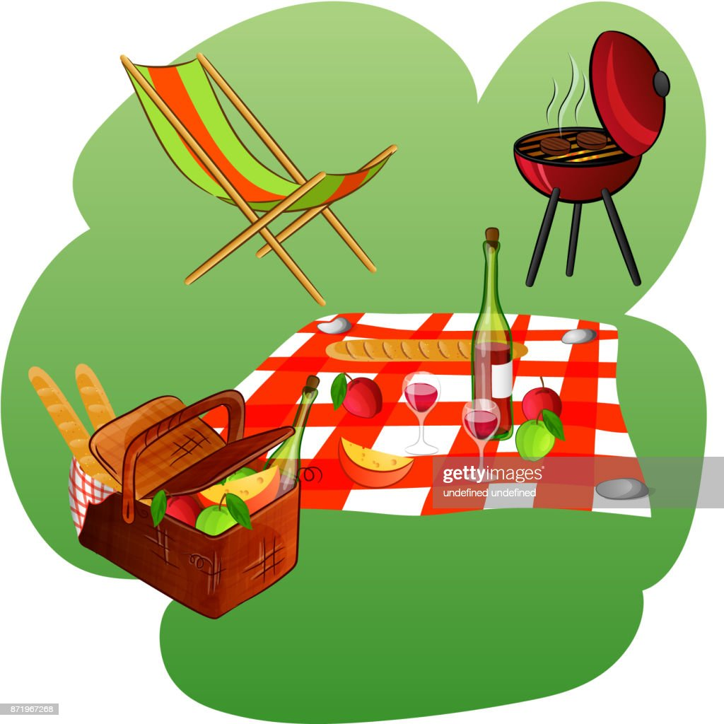chaise longue, grill, blanket, basket with picnic products
