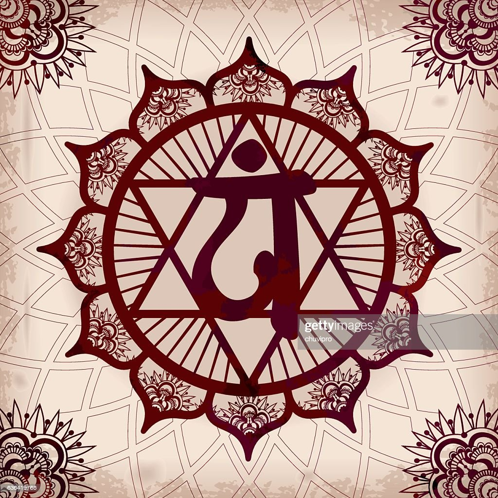 Chakra 4 Anahata Henna Square Ornament On A Grunge Background Vector