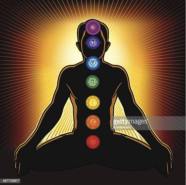 chakra and meditation - lotus position stock illustrations, clip art, cartoons, & icons