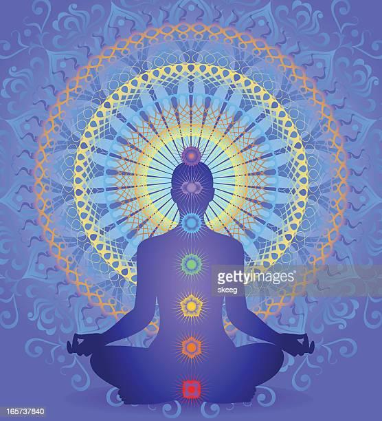 chakra mandala - hinauf bewegen stock illustrations