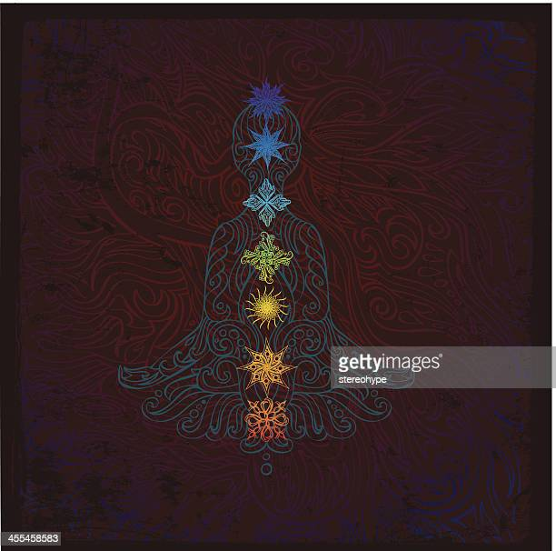 chakra meditation drawing with colors - spirituality stock illustrations, clip art, cartoons, & icons