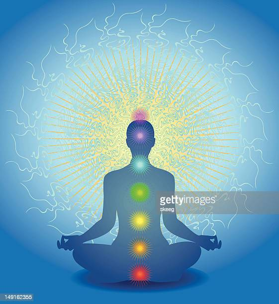 chakra meditation - spirituality stock illustrations, clip art, cartoons, & icons
