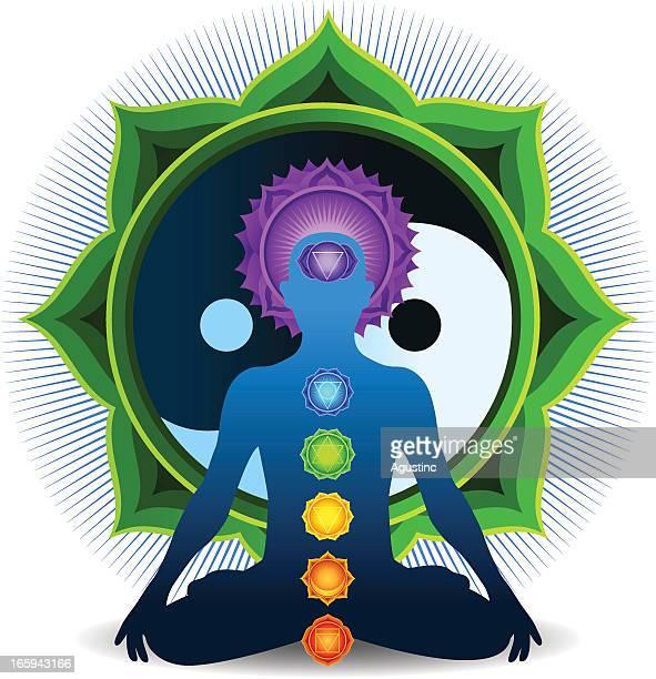 illustrations, cliparts, dessins animés et icônes de chakra de la méditation, avec green yin yang - chakra