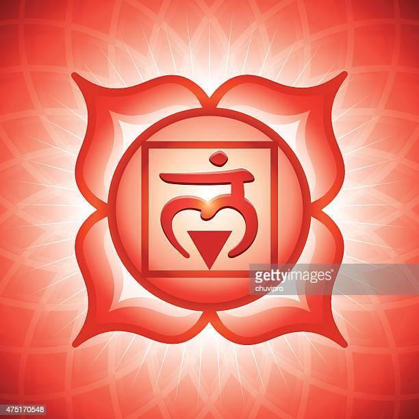 chakra-symbol 1 muladhara - nepal stock-grafiken, -clipart, -cartoons und -symbole