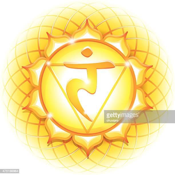 chakra symbol 3 manipura - chakra stock illustrations, clip art, cartoons, & icons