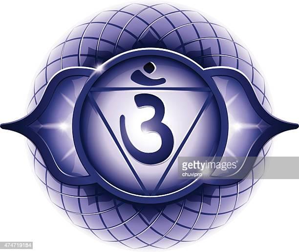 chakra symbol 6 ajna - chakra stock illustrations, clip art, cartoons, & icons