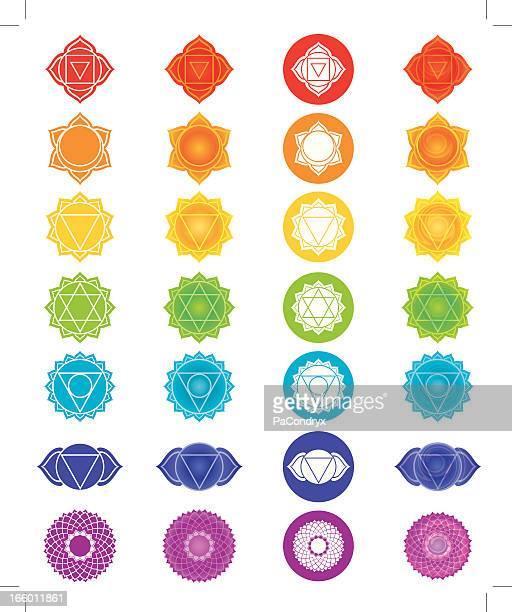 chakra symbols icons set - chakra stock illustrations, clip art, cartoons, & icons