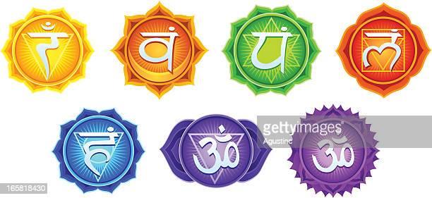 bildbanksillustrationer, clip art samt tecknat material och ikoner med chakra symbols - chakra