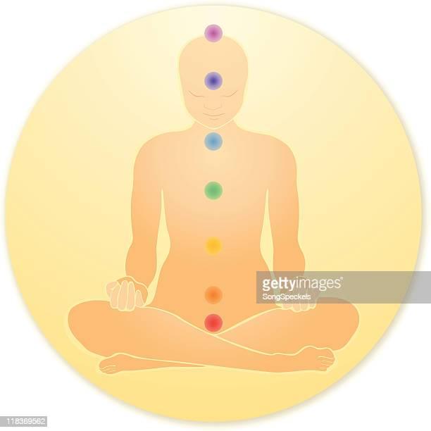 chakras meditation icon - androgynous stock illustrations, clip art, cartoons, & icons