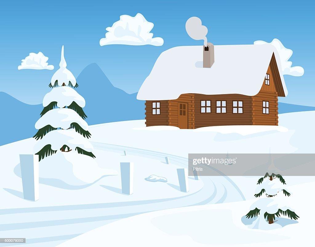 Chalet in Winter, Vector Illustration