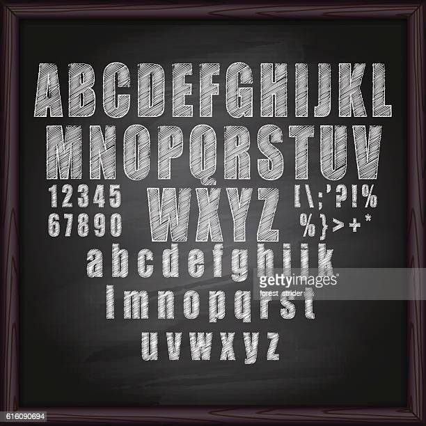 chalk alphabet  on blackboard - chalk art equipment stock illustrations, clip art, cartoons, & icons