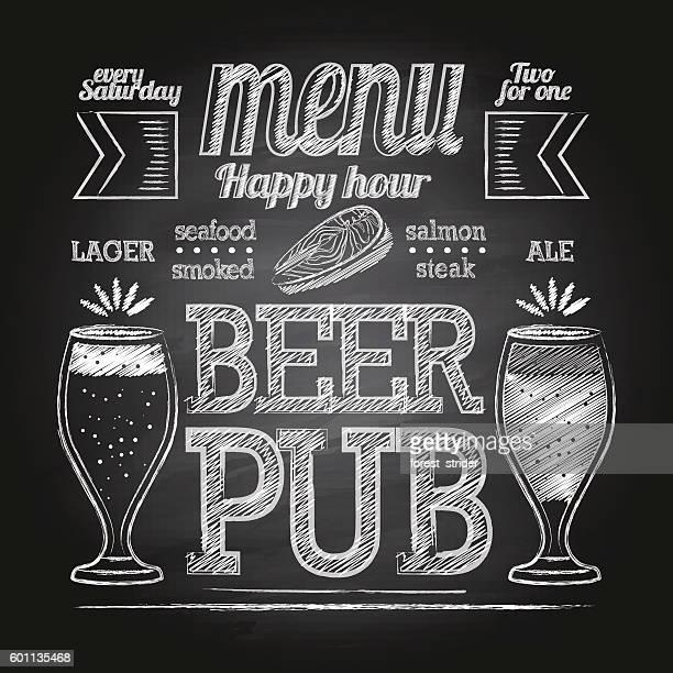 ilustraciones, imágenes clip art, dibujos animados e iconos de stock de chalk beer glass on blackboard - bar