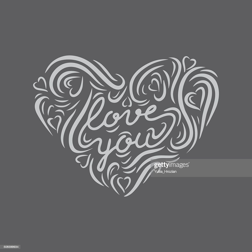 Chalk board hand drawn heart shape with lettering 'Love you'