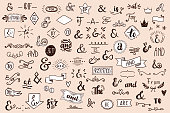 Chalk Catchwords, ribbons, ampersands design elements set. at, to, for, the, of, with, by, and, from. Retro vector set .