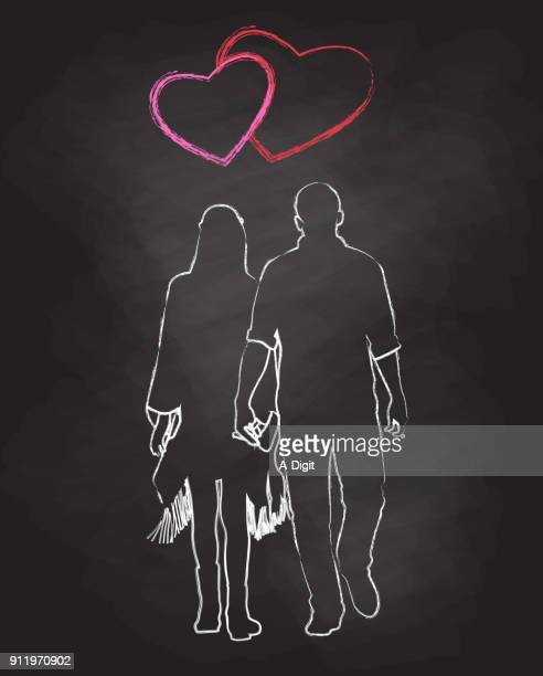 chalk couple love - girlfriend stock illustrations, clip art, cartoons, & icons