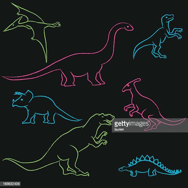chalk dinosaurs - dromaeosauridae stock illustrations