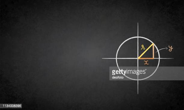 a chalk drawing of a circle drawn in all four quadrants with a right angled triangle in the first quadrant on a black board - blackboard visual aid stock illustrations