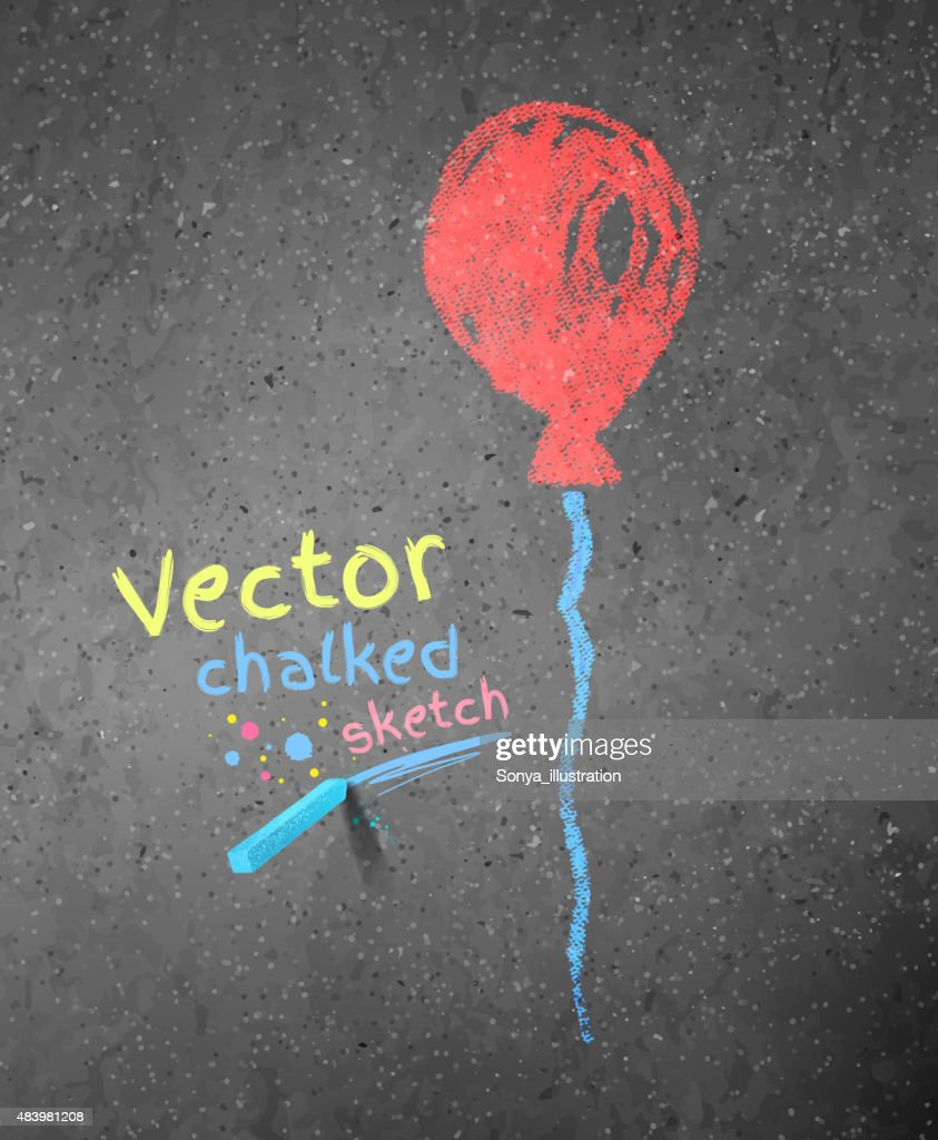Chalk drawing of red balloon.