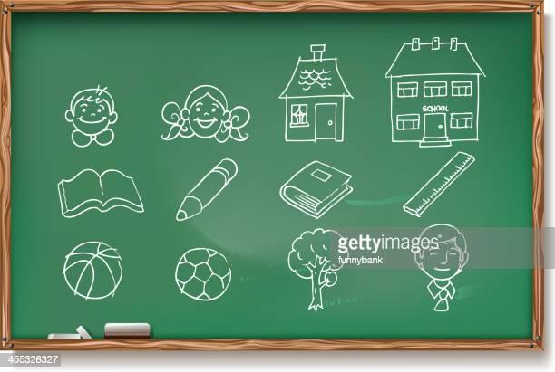 ilustraciones, imágenes clip art, dibujos animados e iconos de stock de en pizarra de tiza dibujo - edificio de escuela primaria