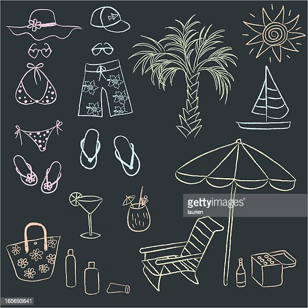 chalk drawn doodles of adult beach gear. - sandal stock illustrations, clip art, cartoons, & icons