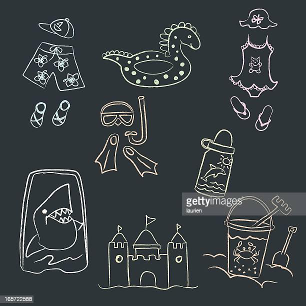 Chalk drawn doodles of children's beach gear.