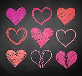 Chalk drawn hearts.