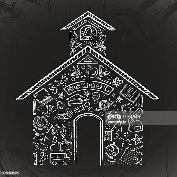 Chalk drawn Schoolhouse Blackboard