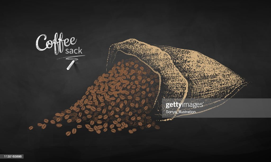 Chalk drawn sketch of sack with coffee beans