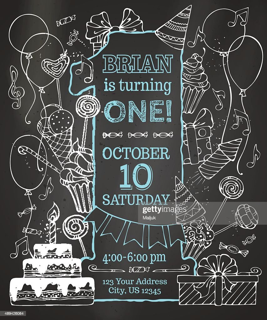 Chalk first Birthday invitation on blackboard.
