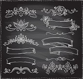 Chalk graphic line elements, love and wedding theme, vintage style ribbons