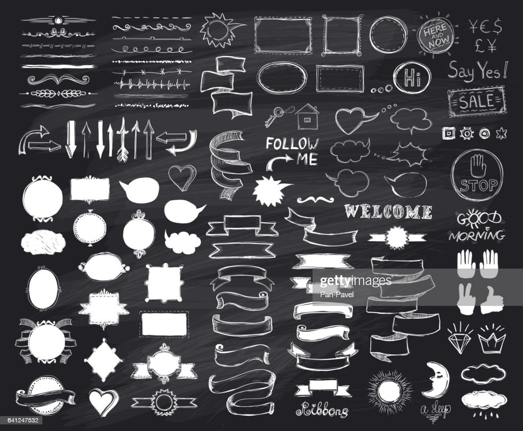 Chalk hand drawn sketch elements on chalkboard, vector  illustration