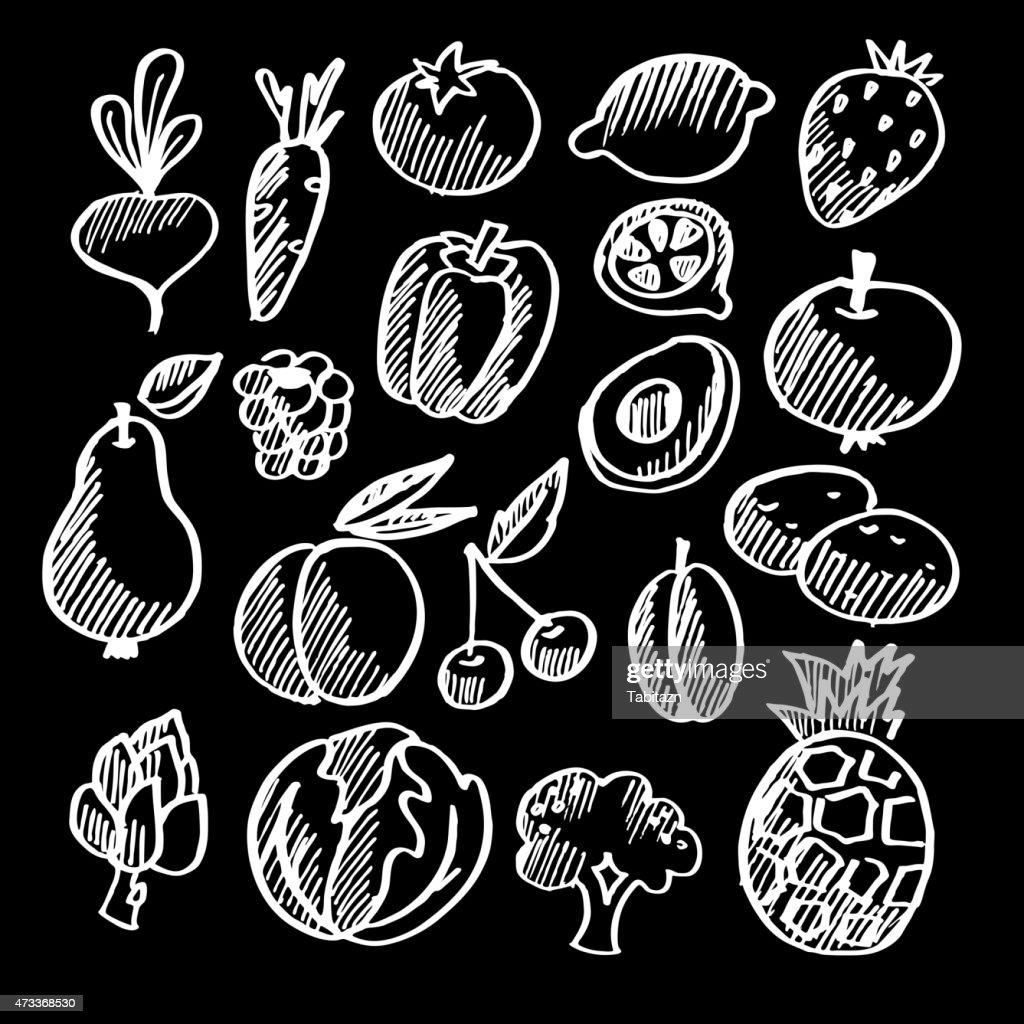 Chalk isolated vegetables and fruits doodle icons, vector
