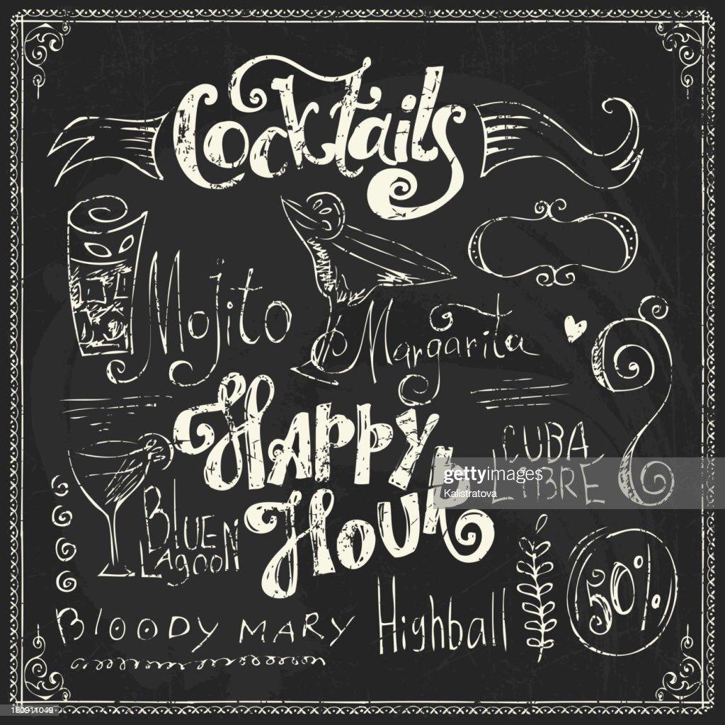 Chalk lettering. Cocktails doodles