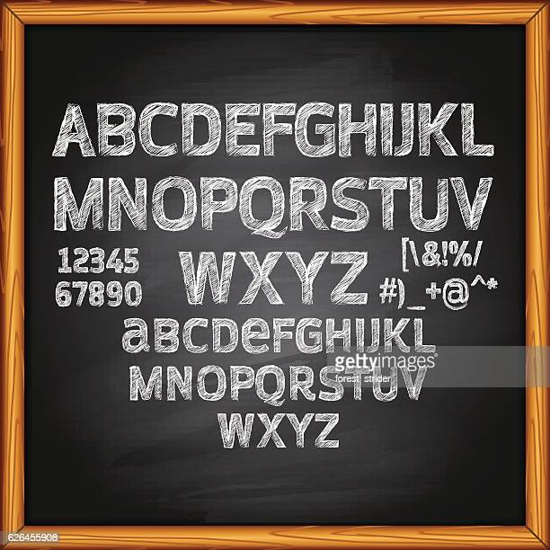 chalk lettering on blackboard - text schriftsymbol stock-grafiken, -clipart, -cartoons und -symbole