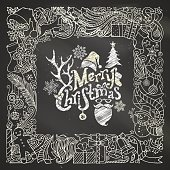 Chalk Merry Christmas frame on blackboard background.