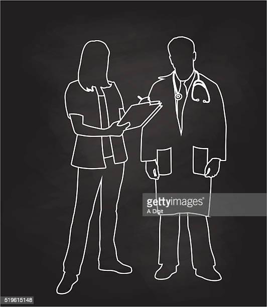 チョークの看護師と医師 - 白衣点のイラスト素材/クリップアート素材/マンガ素材/アイコン素材