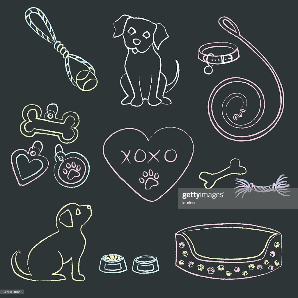 Chalk Puppies and Items : stock illustration