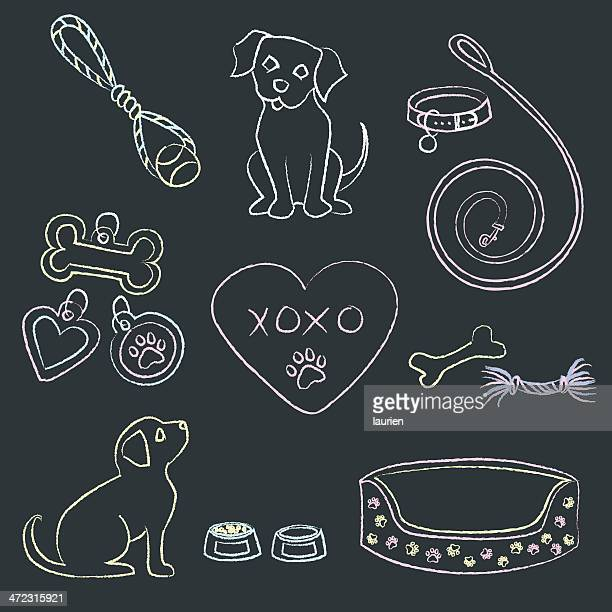 chalk puppies and items - dog leash stock illustrations, clip art, cartoons, & icons