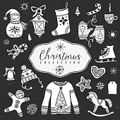 Chalk set of decorative christmas  festive illustrations.