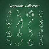 Chalk style outline vegetable symbol set