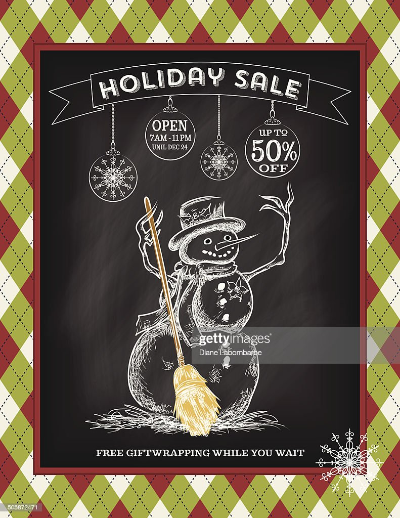 chalkboard argyle holiday christmas sale template vector art getty