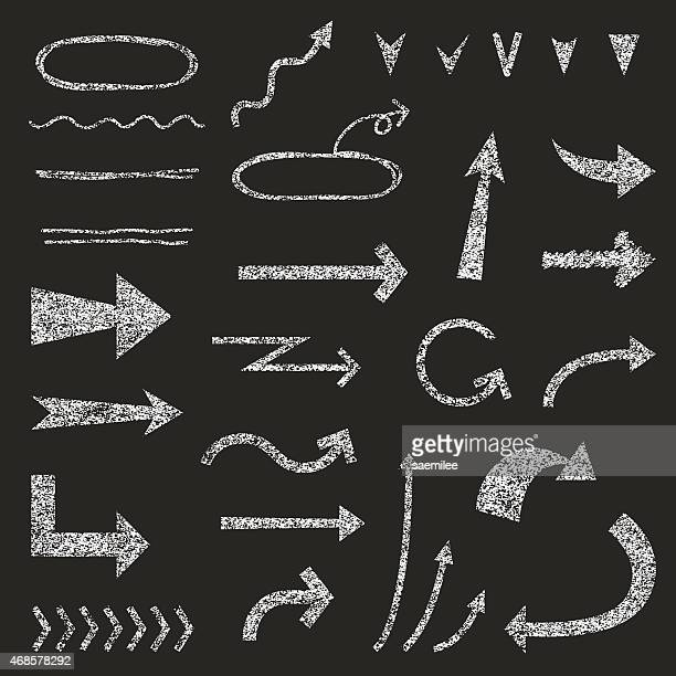 chalkboard arrows - chalk art equipment stock illustrations, clip art, cartoons, & icons