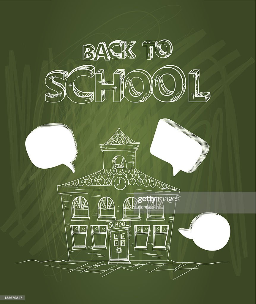 Chalkboard back to school text, house illustration.