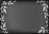 Chalkboard background with decorative frame of white leaves and dots