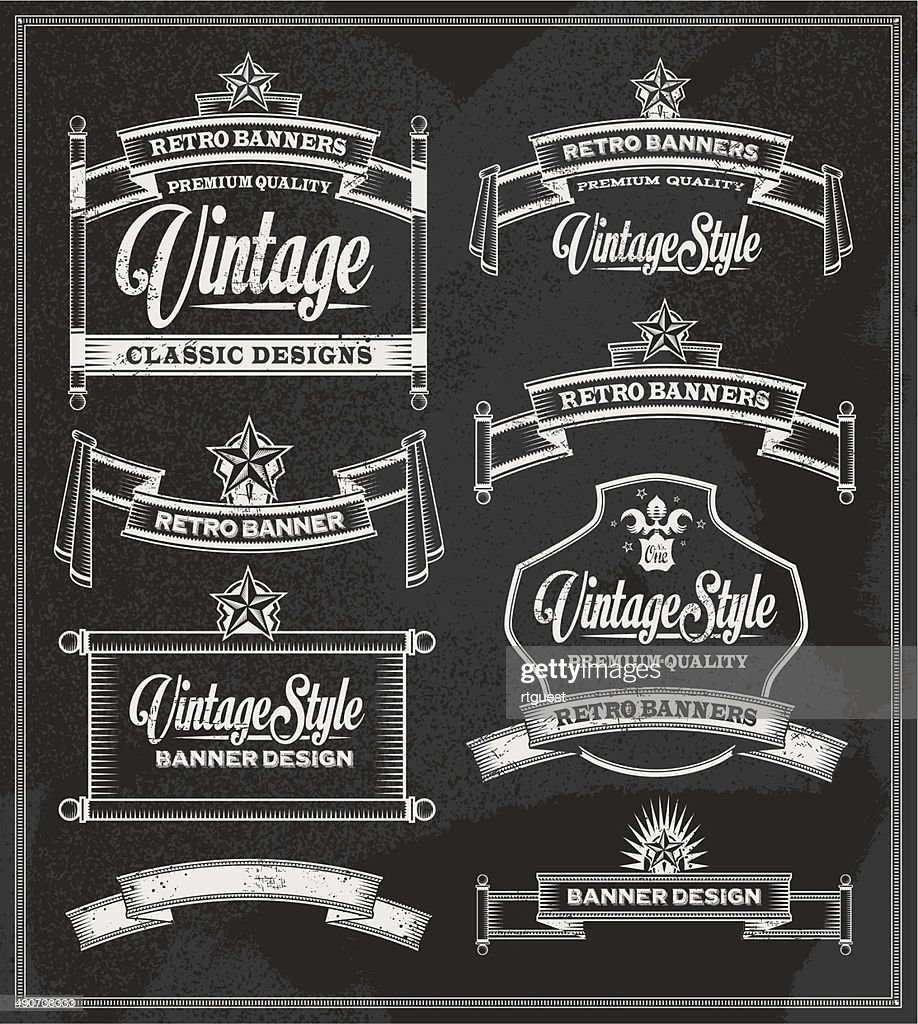 Chalkboard banner and ribbon vector set