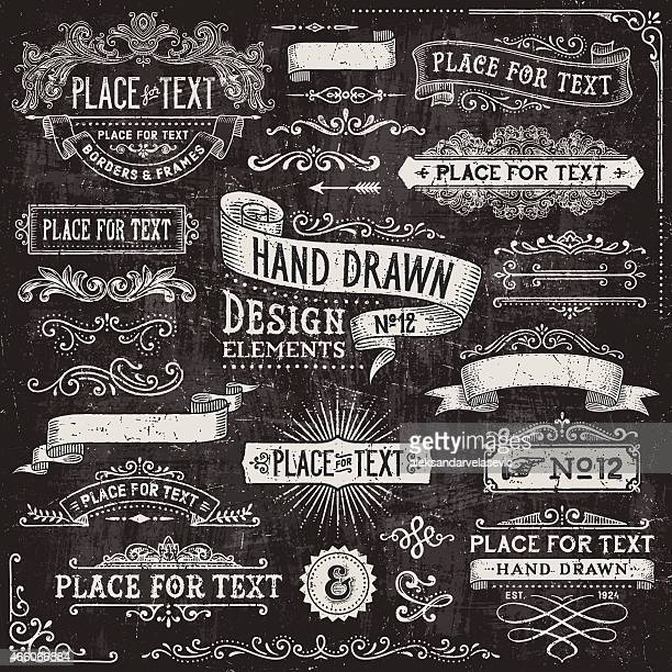 chalkboard banners,badges and frames - old fashioned stock illustrations, clip art, cartoons, & icons
